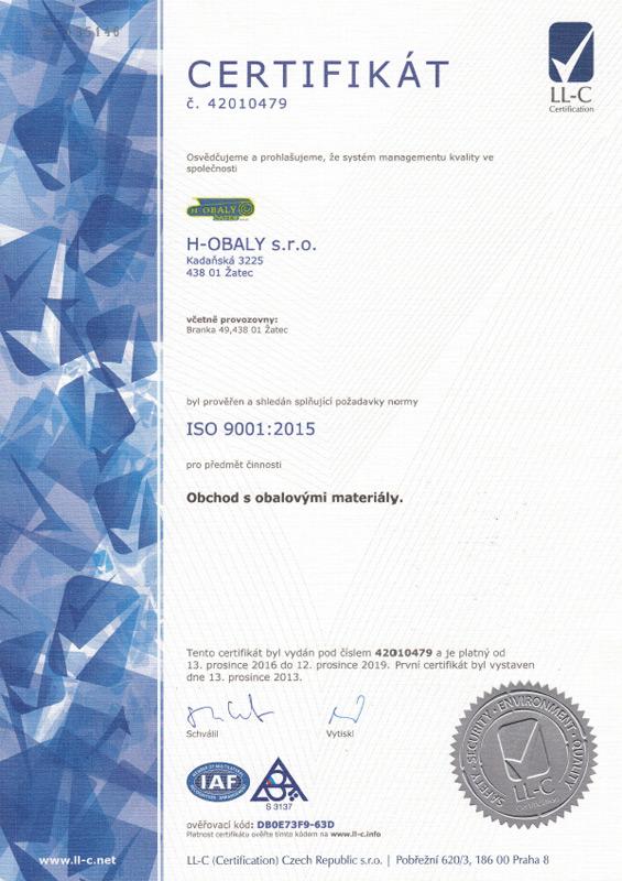 Certifikát ISO 9001-2015
